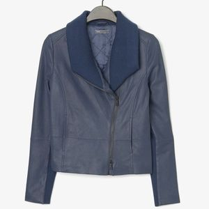 Vince Leather Jacket   Ribbed Knit Collar